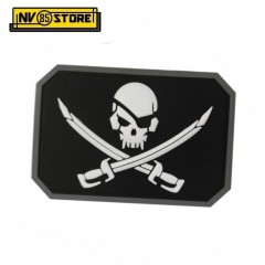 Patch in PVC Teschio Pirata Pirate Skull 8 x 5 cm BK Militare Softair Velcrogrip