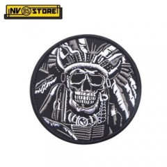 Patch Ricamata Indian Skull Army Punisher Grey 9 x 9 cm Militare con Velcrogrip