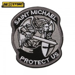 Patch Ricamata Saint Michael Protect US 8,5 x 7 cm Militare Grey/BK con Velcrogr