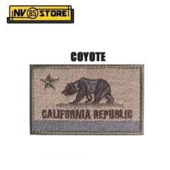 Patch Ricamata Bandiera California Bassa Visibilità Tan 8x5cm Militare con Velcr
