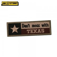 Patch Ricamata Don't Mess With Texas USA 11,5 x 4 cm Militare TAN con Velcrogrip