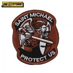 Patch Ricamata Saint Michael Protect US 8,5 x 7 cm Militare Brown con Velcrogrip