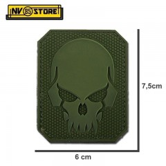 Patch in PVC SKULL Teschio Punisher 7,5 x 6 OD Militare Softair con Velcrogrip