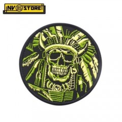 Patch Ricamata Indian Skull Army Punisher Tan 9 x 9 cm Militare con Velcrogrip