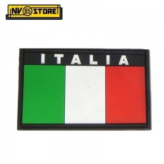 Patch in PVC Bandiera ITALIA 8 x 5 Bordo Nero Militare Softair con Velcrogrip
