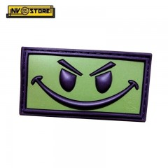 Patch in PVC Evil Smiley Verde OD 6,3 x 3,3 cm Militare Softair con Velcrogrip