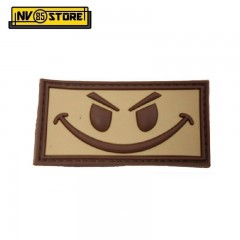 Patch in PVC Evil Smiley 5 x 2,7 cm Militare softair con Velcrogrip TAN