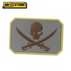 Patch in PVC Teschio Pirata Pirate Skull 8 x 5 cm GY Militare Softair Velcrogrip